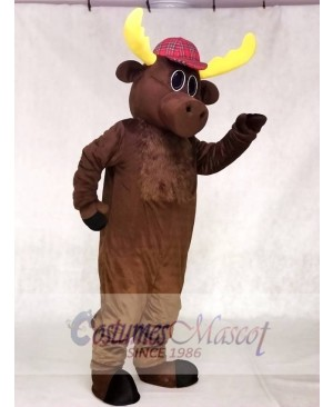 Dark Brown Hunter Moose with Hat Mascot Costumes