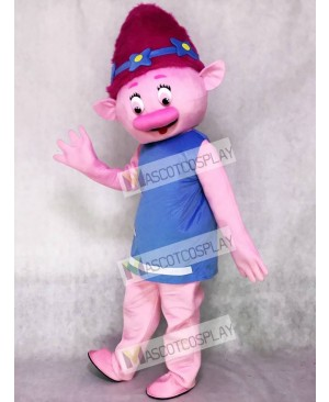 Trolls Cartoon Baby Poppy Mascot Costume Girl with Pink Hair Mascot Costume
