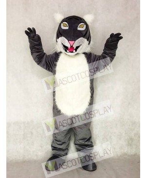 Adult Gray Wildcat Mascot Costume with Yellow Eyes