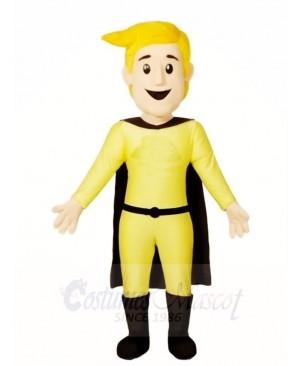 Man Hero in Black Cape Mascot Costumes People