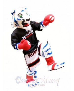 White Tiger with Royal Blue Stripes Mascot Costume Boxer Mascot Costumes Animal