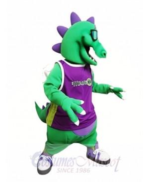 Green Dragon with Sunglasses Mascot Costume Dragon with Vest Mascot Costumes