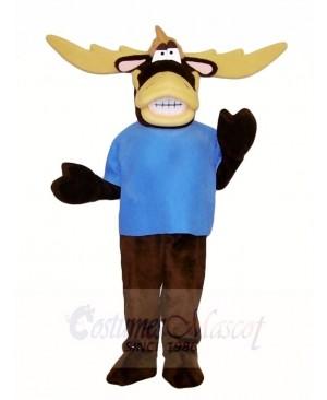 Blue Shirt Moose Mascot Costumes Animal