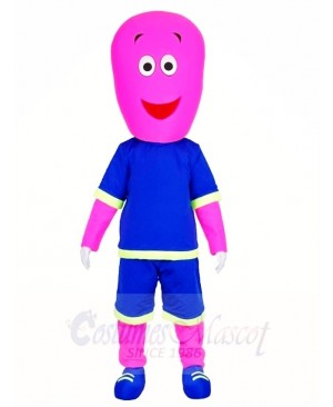 Pink Man in Blue Shorts Mascot Costumes People