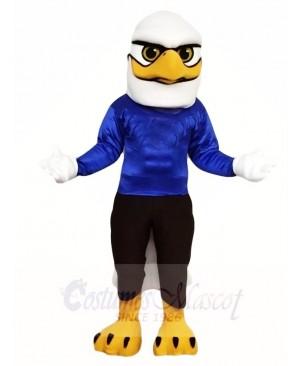White Head Eagle with Blue Shirt Mascot Costumes Bird Animal