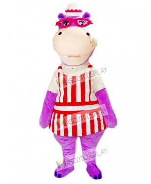 Purple Hippo Hippopotamus with Glasses Mascot Costume