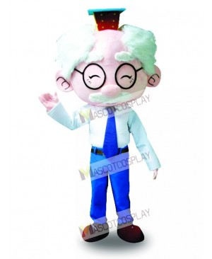 White Suit Glasses Old Man Mascot Costume Cartoon