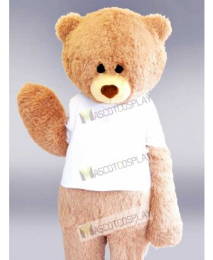 White Shirt Beige Bear Mascot Costume