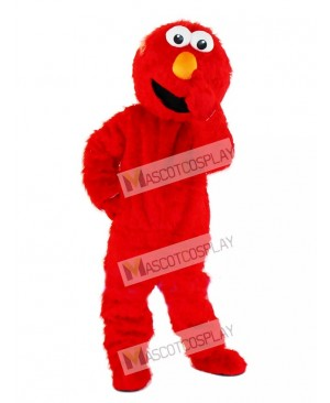 Cute High Quality Long Fur Sesame Street Cartoon Red Elmo Mascot Costume