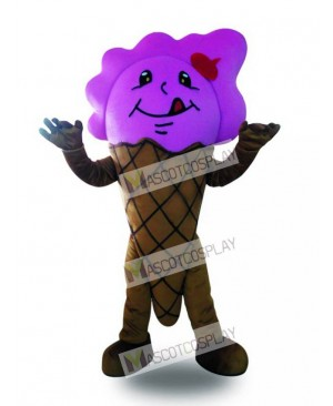 Purple Ice Cream Cone Mascot Costume