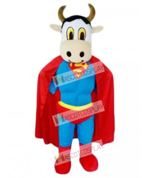 Cute Super Cow Cattle with Superman Cape Mascot Costume