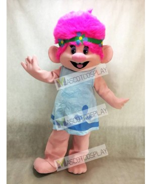 Trolls Cartoon Baby Poppy Girl with Pink Hair Mascot Costume
