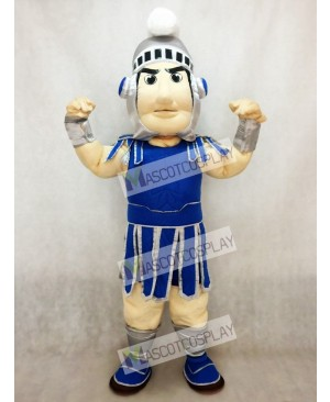 Dark Blue Spartan Trojan Knight Sparty Mascot Costume with Silver Helmet