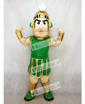Green and Golden Spartan Trojan Knight Sparty Mascot Costume Fancy Costume Carnival