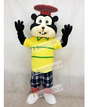 Golfing Gopher in Yellow Shirt Mascot Costume