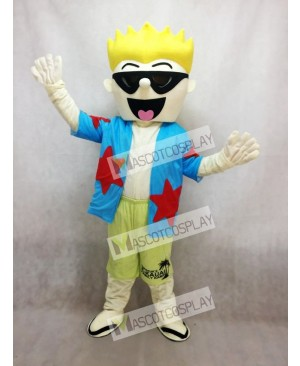 Cool Sunglasses Boy Mascot Costume in Blue Shirt