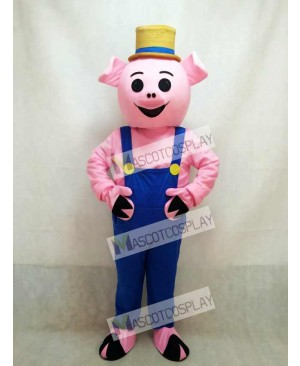 Hot Sale Farmer Piglet Pig Hog with Blue Overalls & Hat Mascot Costume