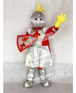 Silver Adult Knight St Norbert Mascot Costume with Red Cloak