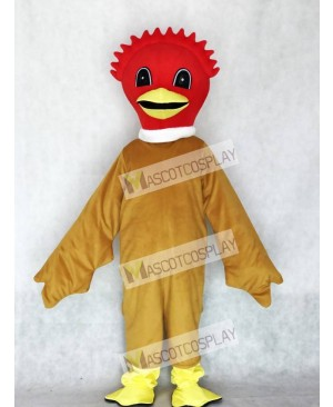Cute Scarlet Bird Mascot Costume with Brown Body Animal