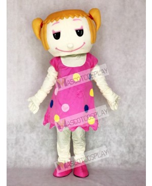 Solid Hair Girl in Pink Dress Adult Mascot Costume
