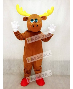 Cute Brown Male Moose Mascot Costume