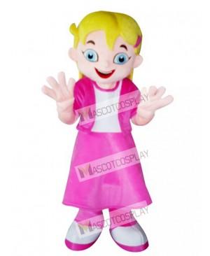 Yellow Hair Girl in Pink Dress Mascot Costume