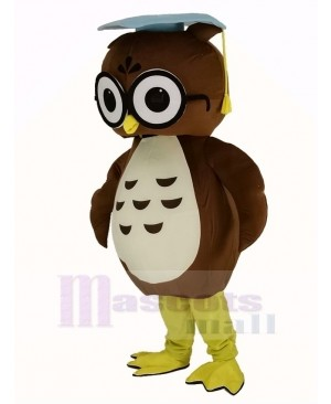 Brown Doctor Owl with Blue Cap Mascot Costume
