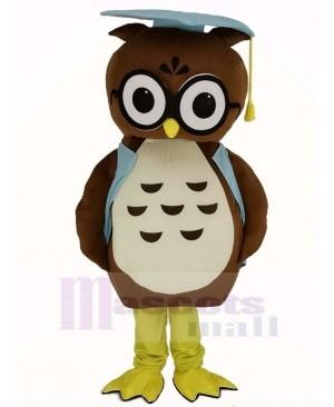 Brown Doctor Owl in Blue Vest Mascot Costume