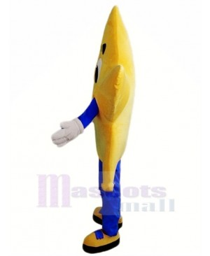 Yellow Twinkle Star with Blue Coat Mascot Costume Christmas Xmas