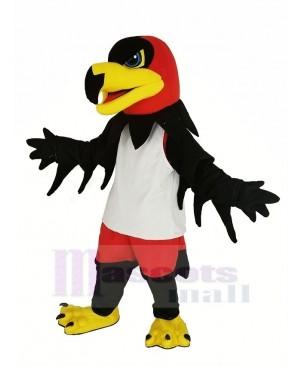 Black Night Hawk with White Vest Mascot Costume