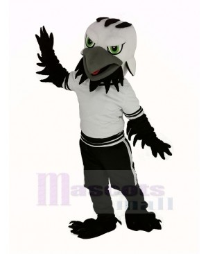 Black Eagle Falcon with Green Eyes Mascot Costume
