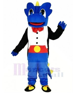 Blue Dragon with Black Tuxedo Mascot Costume Cartoon