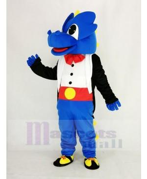 Blue Dragon with Black Tuxedo Mascot Costume Cartoon