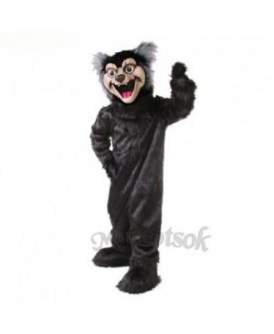 Cute Black Wolf Mascot Costume