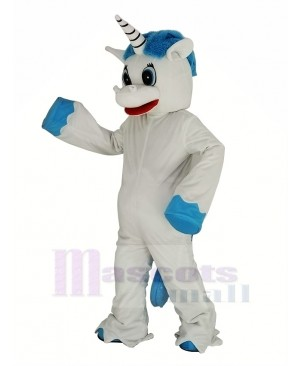 Unicorn with Blue Mane Mascot Costume Cartoon
