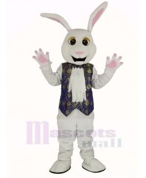 Easter White Rabbit in Blue Vest Mascot Costume