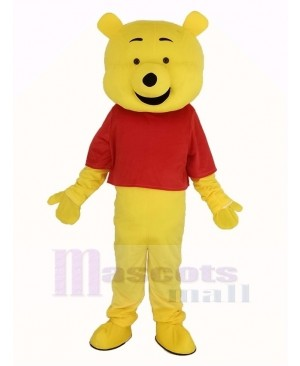 Winnie The Pooh in Red T-shirt Mascot Costume Cartoon