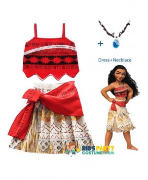 kids party costume,kids dress,Princess Moana Cosplay Costume for kids Vaiana dress Costume with Necklace for Halloween Costumes for Children Girls Gifts