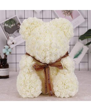 Beige Rose Teddy Bear Flower Bear Best Gift for Mother's Day, Valentine's Day, Anniversary, Weddings and Birthday