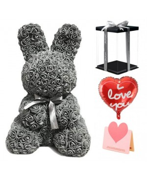 Gray Rose Rabbit Flower Rabbit Best Gift for Mother's Day, Valentine's Day, Anniversary, Weddings and Birthday