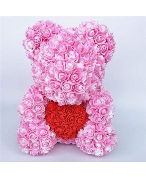 Newstyle Pink Rose Teddy Bear Flower Bear with Red Heart Best Gift for Mother's Day, Valentine's Day, Anniversary, Weddings and Birthday