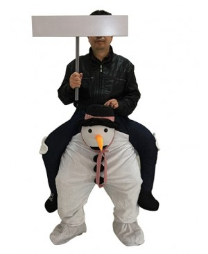 Piggy Back Carry Me Snowman Mascot Costume Ride On Snow Man Fancy Dress