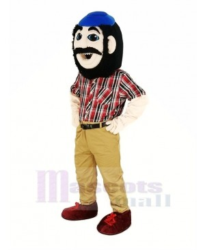Lumberjack with Blue Hat Mascot Costume