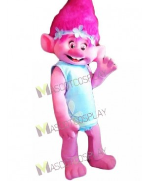 Happy Trolls Girl Poppy Mascot Costume Pink Girl Mascot Costume