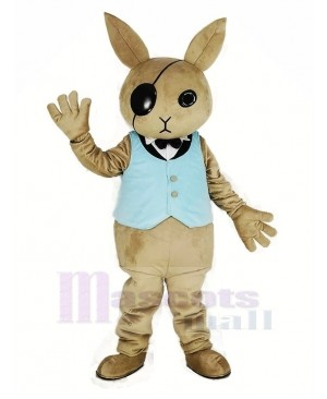 Rabbit Butler with Blue Vest Mascot Costume Cartoon