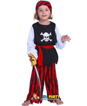 Kids Carnival Costumes Cute Pirate Boys Jack Sparrow Cosplay Children Costume Skull Caribbean Fancy Dress For Party