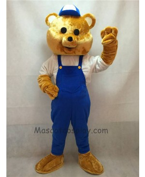 High Quality Teddy Bear Mascot Costume with Blue Overalls and Hat
