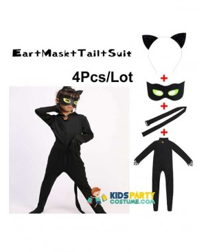 Lady Bug Costume,New Ladybug Party Kids Boys Clothing Sets Black Cat Noir Carnival Cosplay For Adults Men Jumpsuit+Mask Costume