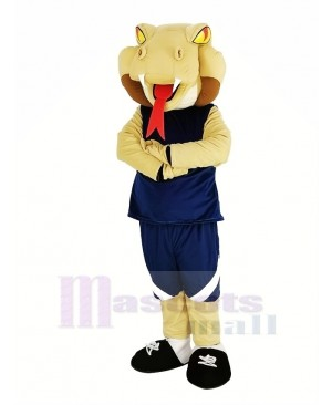 The Cobra Snake with Blue Sportswear Mascot Costume Animal