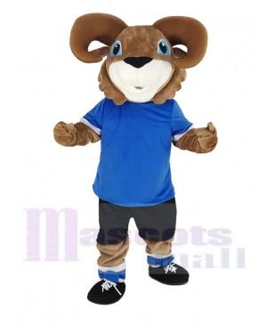 Brown Ram with Blue T-shirt Mascot Costume Animal